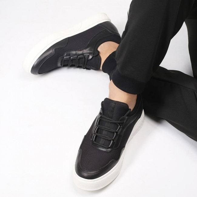 Chamaripa casual tall men shoes black fabric height increasing shoe Tennis Shoes 6CM / 2.36 Inches