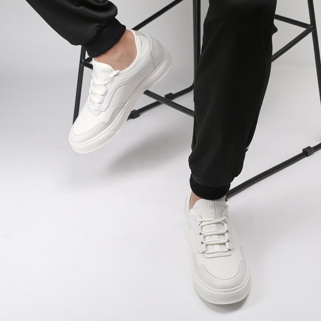 Chamaripa height increase shoes white knit casual elevator shoes lace up shoes to get taller 6CM / 2.36 Inches