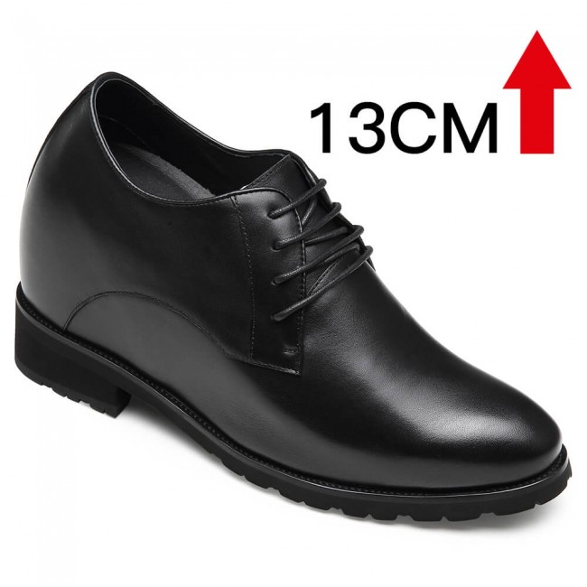 CHAMARIPA derby elevator shoes black height increasing derby shoes tall men shoes 13CM / 5.12 Inches