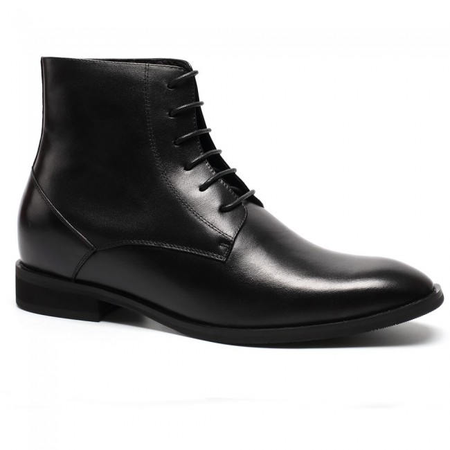 Elevator Boots Men Dress Shoes With Lifts Lace up Ankle Boots Shoes 7 CM /2.76 Inches