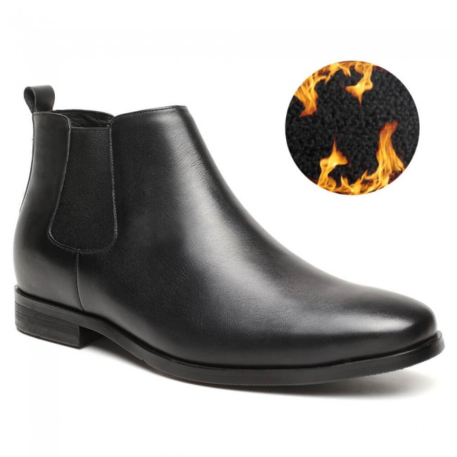 warm velvet elevator boots for men height increasing chelsea boots black 7CM /2.76 Inches