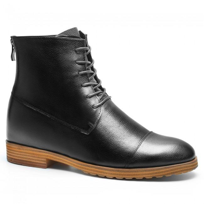 men high heel boots mens elevator boots mens black dress boots 7CM /2.76 Inches