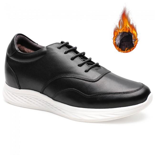 Chamaripa Hidden Heel Sneakers Warm Velvet Lined Winter Elevator Shoes for Men 7 CM /2.76 Inches Black
