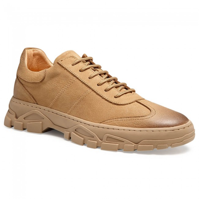 Chamaripa casual elevator shoes for men high heel shoes for men beige outdoor shoes 6 CM /2.36 Inches