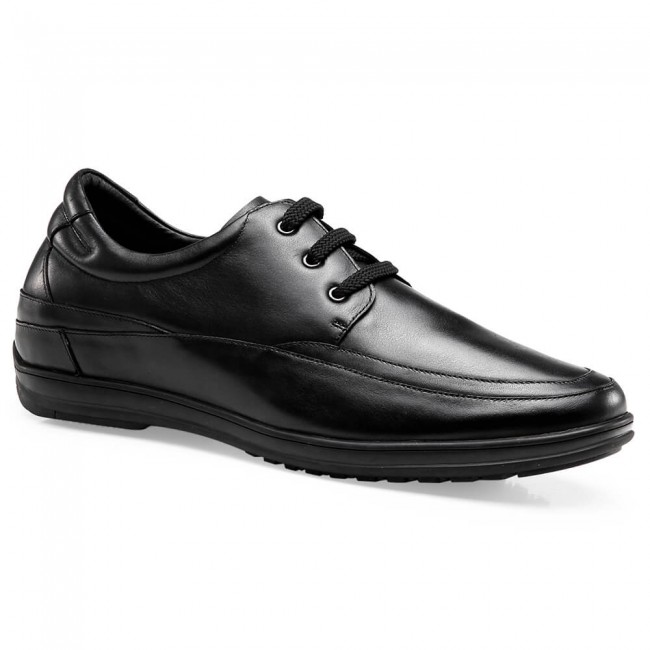 Chamaripa Height Increasing Shoes Black Leather Casual Elevator Shoes Driver Shoes 6 CM/2.36 Inches