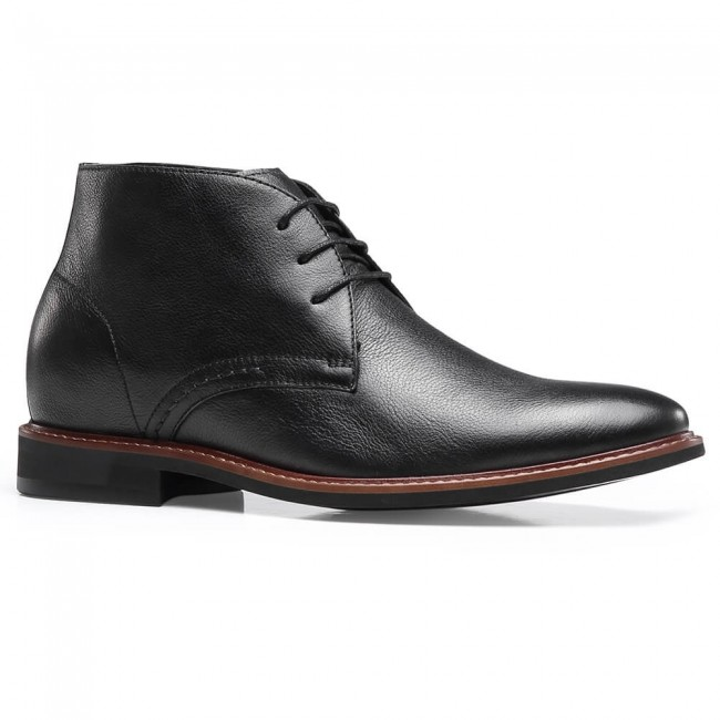 Chamaripa Hidden Heel Boots Elevator Boots Black Leather Men's Chukka Boots 7CM / 2.76 Inches