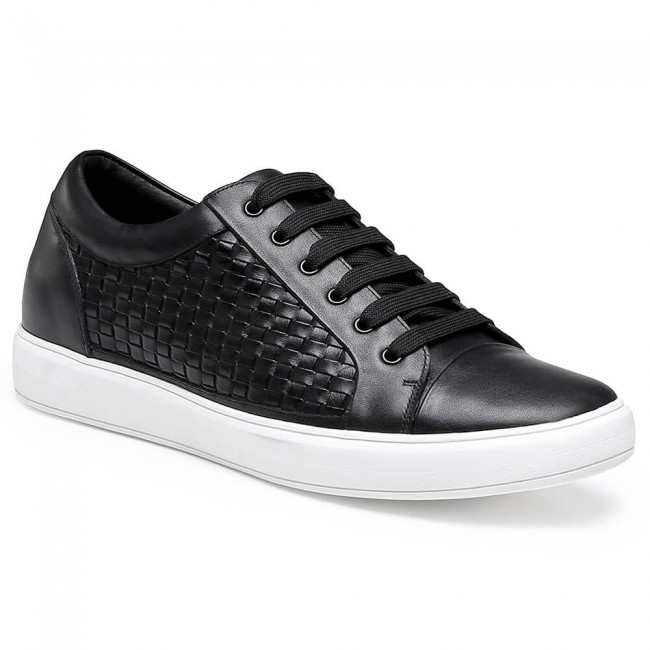 Chamaripa Height Increasing Shoes Black Elevator Sneaker Woven Leather Casual Shoes 6 CM /2.36 Inches
