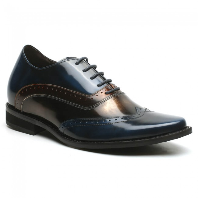 Stylish Height Increasing Shoes Blue Leather Mens Dress Shoes that make you taller 7 CM/2.76 Inches