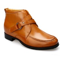 Waxed Calfskin Leather Elevator Boots For Men Height Increasing Tall Mens boots Brown 7cm/2.76 Inches