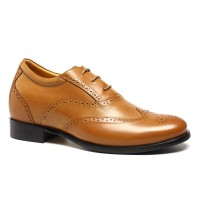 Brown Elevator Dress Tall Shoes Brogues for Men Height Increasing 7cm / 2.76 inch
