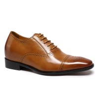 Brown Leather Elevator Dress Shoes To Add Height Classic Shoes For Men Wedding Shoes