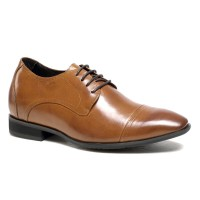 Brown Dress Height Shoes for Men Elevator Shoes Genuine Leather Wedding Shoes