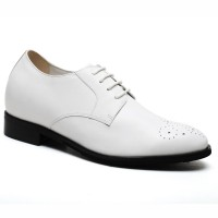 Stylish Elevator Shoes Wedding Shoes White Brogues Dress Shoes