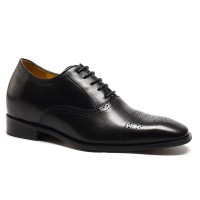Elevator Shoes for Men Shoes to Add Height Black Calfskin Leather Dress Wedding Shoes
