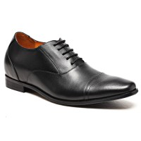 cap toe black dress calfskin leather elevator shoes with lifts for men