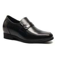 Convenient lace-less black height increase dress shoes