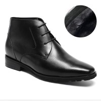 Winter Elevator Shoes Velvet Lining Hieght Increasing Boots Warm Men Oxford Dress Boots Make You Taller 7.5cm/2.95 Inches