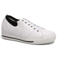 Casual Elevator Shoes White Height Increasing Sneaker Tall Men Shoes Add Height 6CM/2.36 Inch