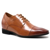 Elevator Dress Shoes Can Increase You Height 7CM/2.76 Inches Brown