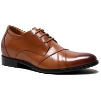 Formal Height Increasing Men Lift Shoes Open Lacing Oxford Hidden High Heel Men Dress Shoes 7CM/2.76 Inches Taller Brown