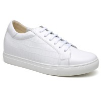 Casual Height Increasing Elevator Shoes Hidden High Heel Sneaker White 6CM/2.36 Inch