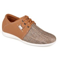 Spring Summer Elevator Shoes New Men Casual Apricot Microfiber Shoes