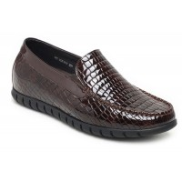 Casual Loafer Cowhide Open Edge Height Increasing Taller Shoes