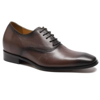 Reddish Brown Leather increase height men elevator dress shoes