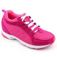 Height Increasing Women Sport Shoes Red Microfiber Elevator Shoes Sneaker 6.5CM