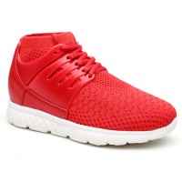 Women Elevator Shoes Red Sneaker Height Increasing Shoes
