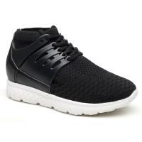 Women Elevator Shoes Black Sneaker Hidden high heel Shoes