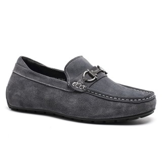 Suede leather casual driving elevator shoes to be taller 5.5cm