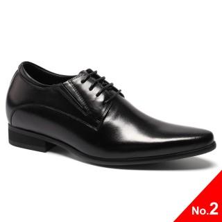 ลิฟท์รองเท้าสำหรับผู้ชายรองเท้าเพิ่มความสูงเครื่องหนังลูกวัวหนังสีดำรองเท้าแต่งงาน
