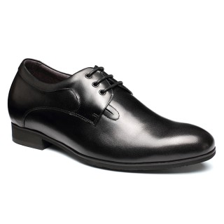 lace-up leather black men elevated shoes