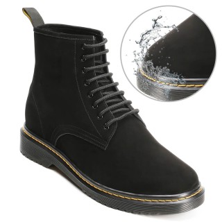 CHAMARIPA height increasing elevator boots water resistant black nubuck leather boots that make you taller 8CM / 3.15 Inches
