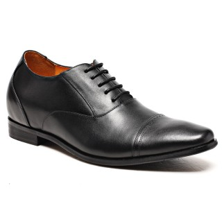 Black Calfskin Leather Tall Men's Dress Shoes With Lifts