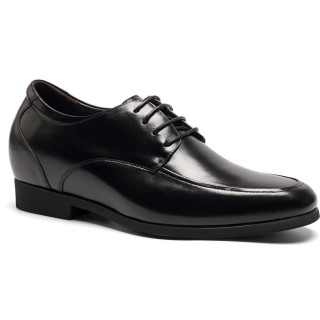 Round toe lace-up cow leather shoes for men to increase height 7 CM / 2.76 Inches