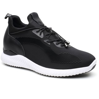 Black Elevator Shoes Height Increasing Sneaker high heel shoes for men in india 7cm/2.76 Inch