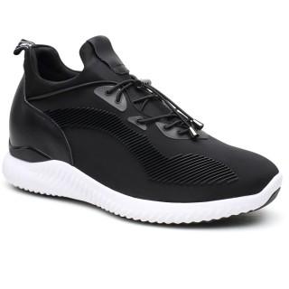รองเท้าใส่รองเท้าสีดำความสูงรองเท้ายกรองเท้าผ้าใบรองเท้าเพิ่มความสูง 7 ซม. / 2.76 นิ้ว