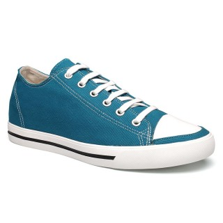 Classic Men Casual Solid Elevator Sneakers Canvas Flats Sports Look Taller 6CM Shoes Blue