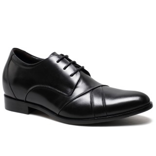 Formal Height Increase Men Lift Shoes Open Lacing Oxford high heels formal shoes for mens Black 7CM/2.76 Inches