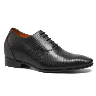 Black Calfskin Leather Men Height Dress Shoes