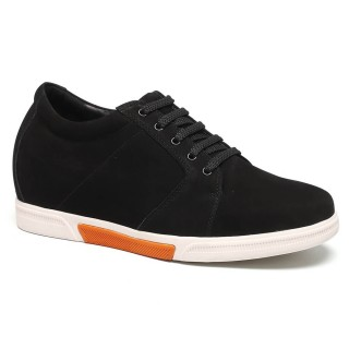 Black Suede Leather Look Taller Casual Shoes