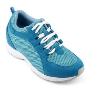 Sport elevator shoes insoles 6.5cm Blue Microfiber increasing shoes