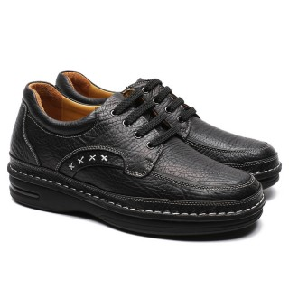 Chamaripa High Heel Men Shoes Black Leather Elevator Shoes