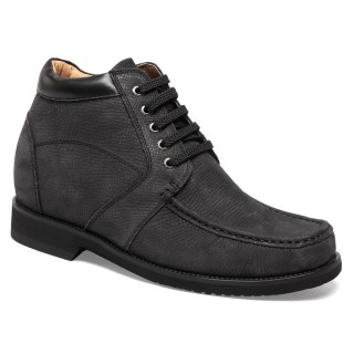 Leisure Casual Suede Leather Look Taller 10CM/3.94 Inch Elevator Cowboy Boots