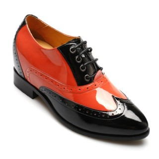 black/red brogue elevator shoes for women