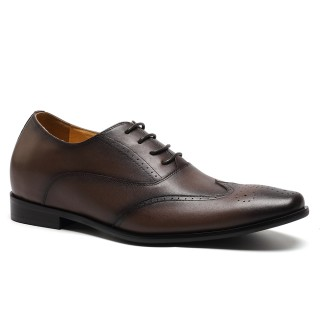 Reddish Brown Oiland Wax Leather Height Enhancing Insoles Dress Shoes With Lifts