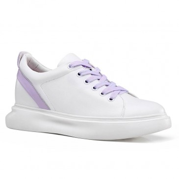 CHAMARIPA women'selevatorsneakers hidden heel casual shoes women white calfskin leather 5CM / 1.95 Inches