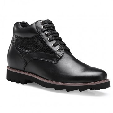 Chamaripa Height Increasing Boots Tall Men Boots Black Leather Elevator Shoes 9 CM /3.54 Inches